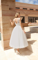 Wholesale 2014 New Arrival Beach Wedding Dresses Lace Appliqued Bateau Neck Beaded Sashes Open V Back Ball Gown Tea Length White Tulle Bridal