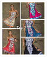 Wholesale Bohemian Dress Fashion Retro Maxi Hippie Boho Ivory Red Hot Pink Black Blue Paisley Print Strapless Summer Dress Casual X419