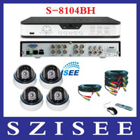 Wholesale 4CH H Standalone DVR with IR Dome CCD camera Home Security System