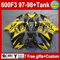 Wholesale High Qality Tank HOT Fit HONDA CBR600F3 CBR600RR CBR600 Yellow black MC692048 CBR F3 F3 COOL Fairing