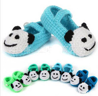 Wholesale 5pairs Cartoon panda shoes flower girl crochet shoes Toddler Shoes Handmade infant Shoes baby First walker shoes colors