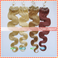 Wholesale quot Wavy Micro Bead Hair Extensions Human g s light colors body wave Remy Nano Ring Hair Extensions Bravo free ChinaPost