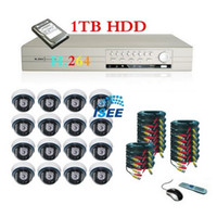 Wholesale 16CH CCTV H Network DVR Home Security Alarm System with Sony CCD IR Dome Cameras
