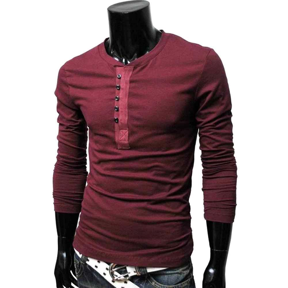 Man Compression Top Henley Neck Long Sleeve Casual Male