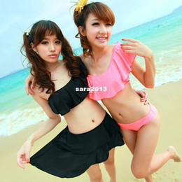 Wholesale Porter skirted bikini piece set small push up swimwear solid color oblique female hot spring swimsuit
