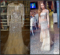 rhinestone see through dress - Real Images Champagne Rhinestones Prom Dresses Illusion Crew Long Sleeves See Through Mermaid Heavy beads Formal Party Evening Gowns