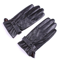 Wholesale S5Q Men s Gloves Mittens Winter Warm Driving Gloves PU Leather Fashion Five Fingers Black AAACVV