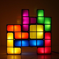 Wholesale Classic and Innovative Style Stackable Tetris Pieces Shaped Lamp DIY D Puzzle Sliding Blocks Light Strange new LED light toys L1016F