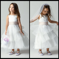 Wholesale 2015 Cheap Angel Jewel Neck Flower Girl Dresses A Line Tea Length Tiers Satin and Organza White Pageant Dress With Champagne Sash