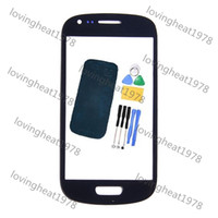 For Samsung i8190 Touch Screen screen glass lens 100 pcs free DHL shipping Front Outer Screen Glass lens with tools For SAMSUNG Galaxy S3 mini i8190 glass with Tools and Adhesive