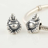 Wholesale 925 Sterling Silver Threaded Buddha Bead Charm Fit European Bracelets Necklace