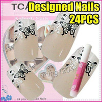 Full Natural Tips Oval Nail Tips Wholesale - Best Selling Freeshipping 24pcs set Butterfly Artificial Nail Art French Tip + Glue C241