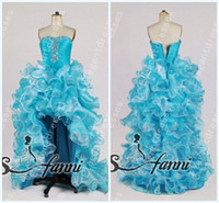earrings sexy - Custom Made Sexy Inspired Beaded Sweetheart Strapless Organza Light Blue Hi Low Prom Dresses Evening Gowns Get Free Earring SKU12