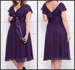 Wholesale DM Cheapest Custom Made Plus Size Dresses Chiffon Tea Length Empire Bow Sash Beads V Neck Zipper Capped Sleeve Hot Sale Formal Gowns