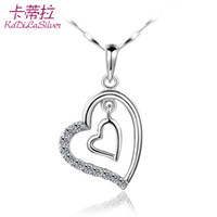 Pendant Necklaces Bohemian Women's Kadi La heart-shaped 925 sterling silver necklace female short paragraph clavicle Korean fashion jewelry birthday gift lettering