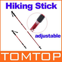 "Cheap Adjustable AntiShock Trekking Hiking Walking Stick Pole 26 "" to 53 "" with Compass H8307R Freeshipping Dropshipping Wholesale"