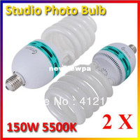 Wholesale 2pcs W E27 K CFL Photography Lighting Video Bulb Daylight Balanced E27 k Energy Saving fluorescent Lamp photo studio