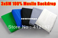Wholesale 2pcs x6m x20ft Photography Studio Photo Chromakey Muslin Cotton Backdrop Green White Black Blue Grey Background Screen