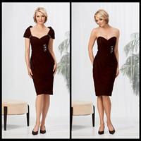 Wholesale 2014 Sweetheart Sheath Knee Length Mother Of The Bride Dresses Detachable Shoulder Chocolate Chiffon Beaded Plus Size
