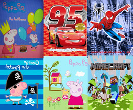 Wholesale EMS TO AUSTRALIA AND NZD Peppa Pig George Pig spider man Lighting Mcqueen girl girls boy boys kids Fleece Blanket