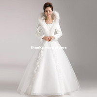 Wholesale 2013 Korean version of the new winter winter winter thick warm winter cotton long sleeved wedding dress bridal wedding yarn Qi