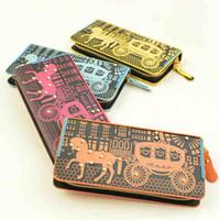 Wholesale leather wallets women hot sale colors horse printing wristlet purse clutch