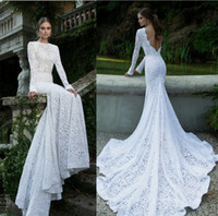 Wholesale 2014 popular element Lace Mermaid Wedding Dresses High Collar Sexy Backless Long Sleeve Chapel Train Bridal Gown Berta style collection