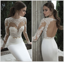 Wholesale 2014 Hot Berta Bridal Mermaid Wedding Dresses Jewel Neck Poet Long Sleeve Illusion Sheer Appliques Lace Backless Back Formal Gowns BO3910