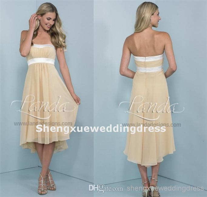 High quality pleated chiffon strapless tea length hi lo for Hi lo dress wedding guest