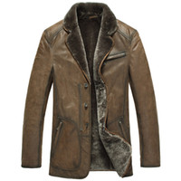 Cheap coats free shipping--Spain genuine leather wool fur leather business casual men's leather fur [M12175]