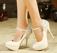 Wholesale New arrival fashion female stiletto noble party platform sexy sequined straps Korean princess heel shoes EU35