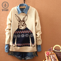 Wholesale sweaters New Beige Autumn And Winter Women Fashion Spell Color Rabbit Rretro Wweater Pullover Outerwear