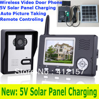 "Cheap Home Villa 2.4G Wireless Color Video Door Phone System 3.5"" TFT LCD Monitor IR Camera Video DoorBell Intercom Kit Solar Charging"