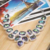 Wholesale 925 sterling silver necklace mystic topaz colorful Gemstone jewelry necklace