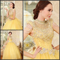 Wholesale 2014 High Collar Cap Sleeve Ball Gown Illusion Corset Sequined Organza Full Length Modern Yellow Quinceanera Prom Dresses with Beading Bow