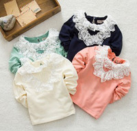 plain long sleeve - 2014 Spring Sweety Baby Girls Lapel Crinkle Lace Long Sleeve Cotton Plain Shirts Kids O Neck Casual Tees Clothes B2516