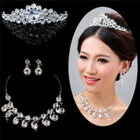 Wholesale Elegant Three piece Bridal Party Accessories Silver Diamond Tiaras Necklace Hair Accessories NEW style