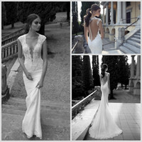 Cheap 2014 Sexy Berta Bridal Mermaid Wedding Dresses Deep V Neck Cap Sleeve Sheer Appliques Lace Backless Back Covered Button Formal Gowns
