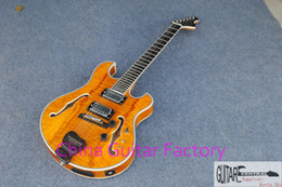 2017 new arrival + guitar factory + GB jazz electic guitar flame maple top jazz electric guitar one f lower one f higher