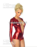 Wholesale lycra spandex zentai catsuit metallic red sexy club