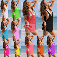Wholesale Summer Womens Sexy Dress V neck with strap Bikini Suits Beach Skirt Casual Dresses Sexy Swimming Wear Ladies Cover Up Beachwear swimwear