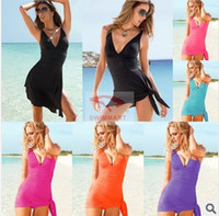 Wholesale Summer Multi purpose deep V Women Sexy Dress Bikini Suits Beach Skirt Casual Dresses Sexy Swimming Wear Ladies Cover Up Beachwear swimwear