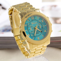 Wholesale Geneva Full Steel Watch blue earth quartz Watches stainless steel wristwatches women s fashion alloy sports watch M