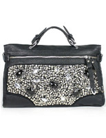 Wholesale Black Beautiful Rhinestone PU Womens Tote Bag genuine leather handbags u5 EzK