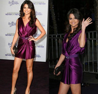 Wholesale Selena Gomez Sheath V neck Ruffles Crystal Sash Short Grape Stretch Satin New Model Celebrity Red Carpet Cocktail Party Dress DL1310149
