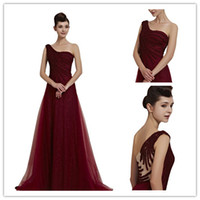 Wholesale Chic Wine Red One Shoulder Sweep Train Evening Gown A Line Sequined Tulle Wedding Party Dress Shimmer Pleats Evening Gown DL132000228