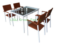 Wholesale modern rattan dining set dining table chairs