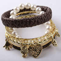 Wholesale 3 Sets New Fashion Ladies Leather Pearl Bangle Set Owl Palm Love Skull Peace Cuff Bracelets SZ011