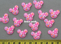 Headbands cameo Jewelry Findings Wholesale - Set of 100pcs Polka Dot Mouse Cab 20mm with Bow Cell phone decor, hair accessory supply, embellishment, DIY project supply