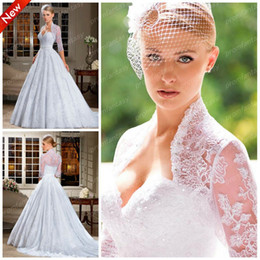 Wholesale 2014 Vestidos De Novia Vintage Two Piece Tulle Ball Gown Wedding Dresses with Detachable Half Long Sleeves Lace Boleros Sheer Appliques Gown